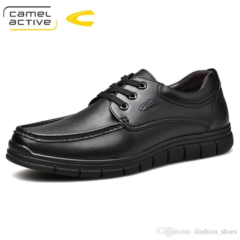 85cbd2c5af Compre Camelo Ativo Novos Homens De Couro Genuíno Sapatos Casuais  Respirável Lace Up Calçados De Negócios Adulto Mocassins Sapatos Masculinos  Chaussure Casa ...