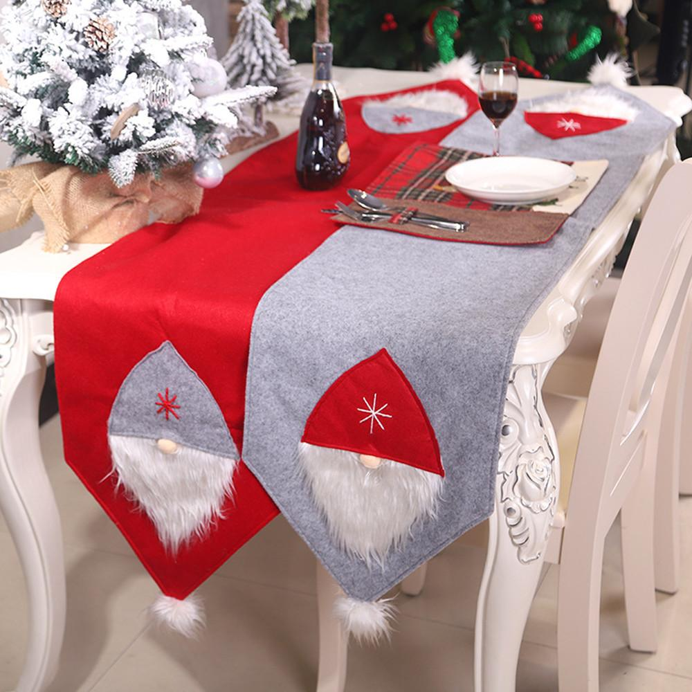 Christmas Tablecloth Banquet Santa Claus Red Hat Party Dinning Table Flag Christmas Decorations Table Runner for Coffee Table