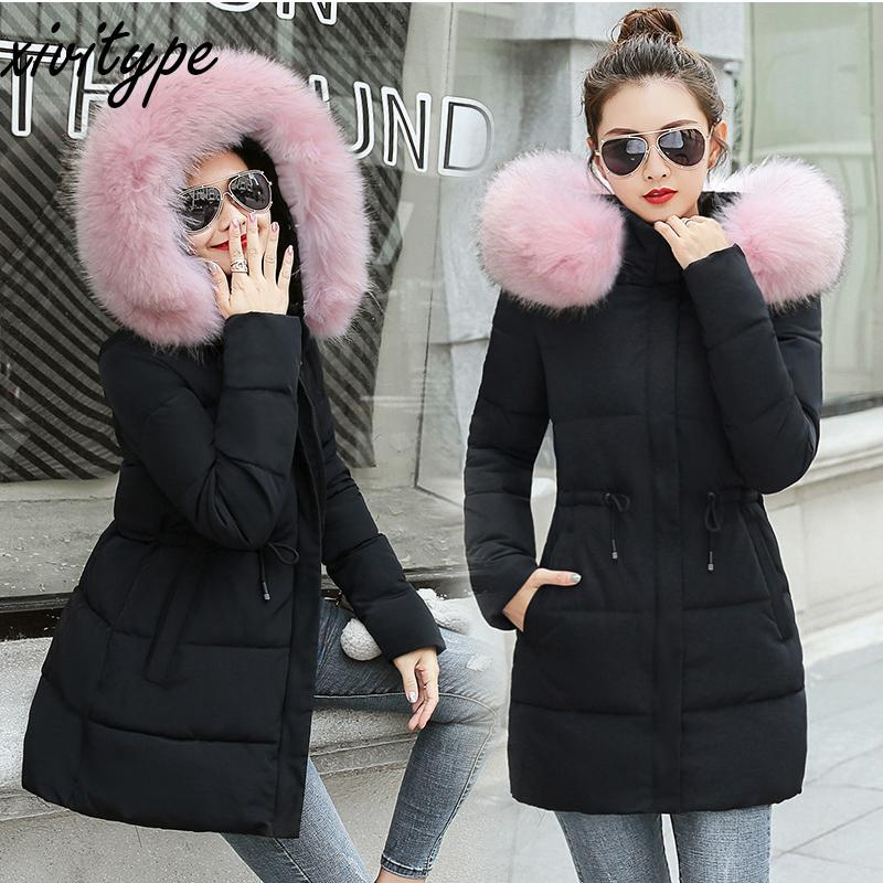 a6b3e047f Winter Coat Women Large Size Faux Fur Collar Women Parkas Outerwear solid  hooded Coats Short Female Slim Short Coat z0395