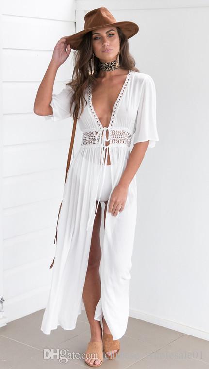 7f1e76845c 2019 Home Wear Women Summer Bikini Boho Beach Dress Vestidos Beachwear  Swimwear Kaftan Split Deep V Hollow Out Lace Up Long Maxi Dress From ...
