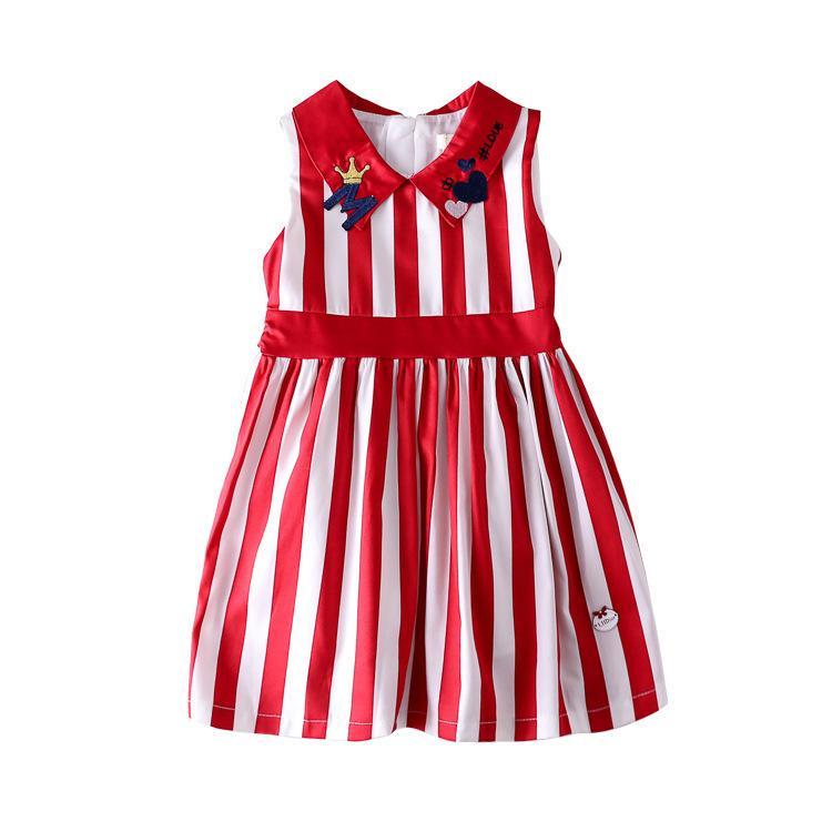 9733d9945 Compre Ropa Infantil 2019 Verano Nuevo Patrón Vestido De Niña Niños Solapa  Raya Chaleco Falda Princesa Falda A  27.14 Del Dhjun