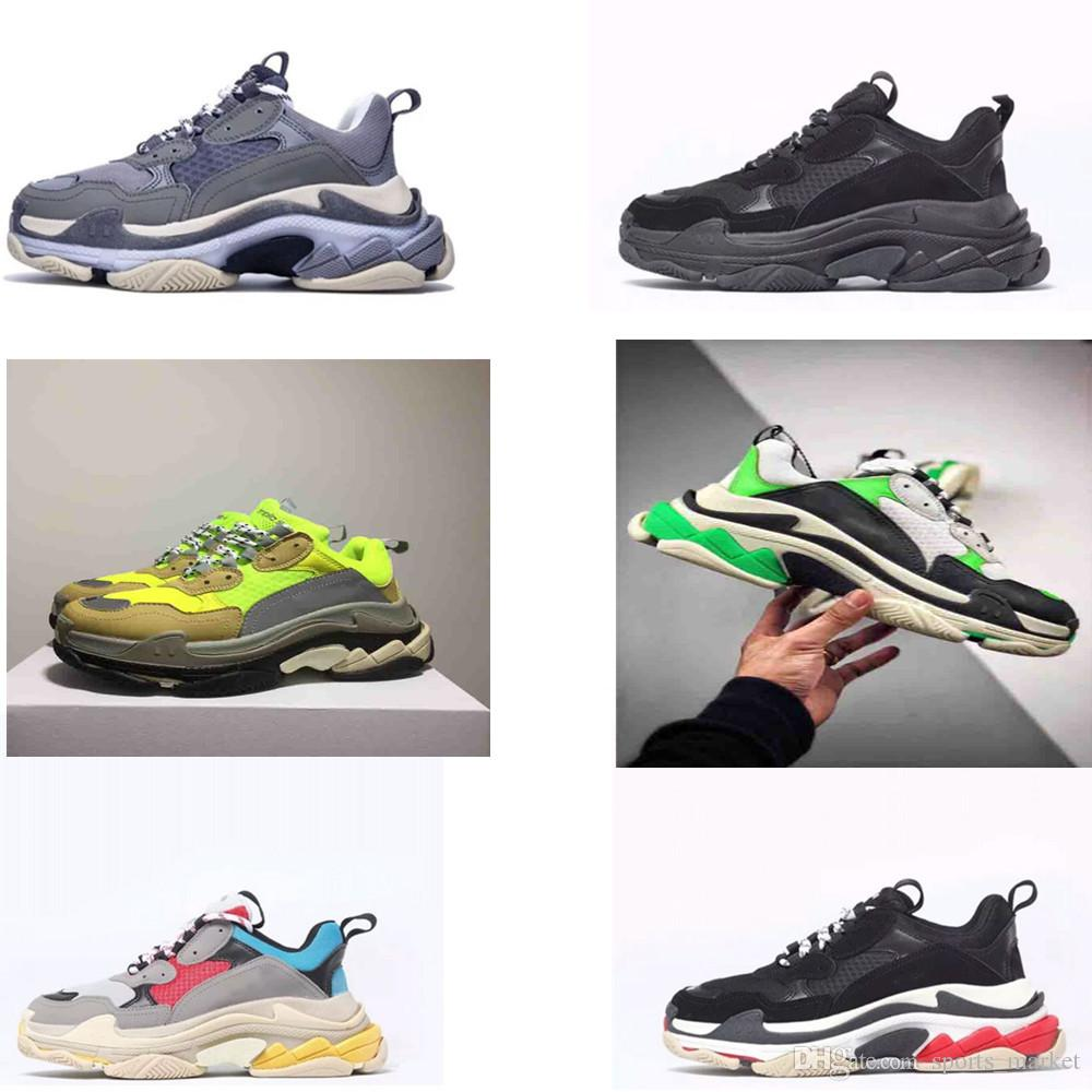 2019 New Unveils New Triple S Casual Shoes Man Woman Sneaker High Quality Mixed Colors Thick Heel Grandpa Trainer Shoes size35-45