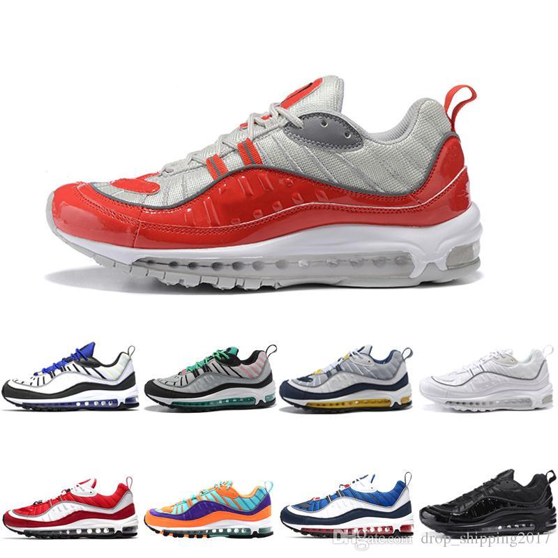 nike air max 98 shoes Venta caliente zapatillas de deporte de los hombres zapatillas de deporte rojo blanco deporte amarillo negro de alta calidad