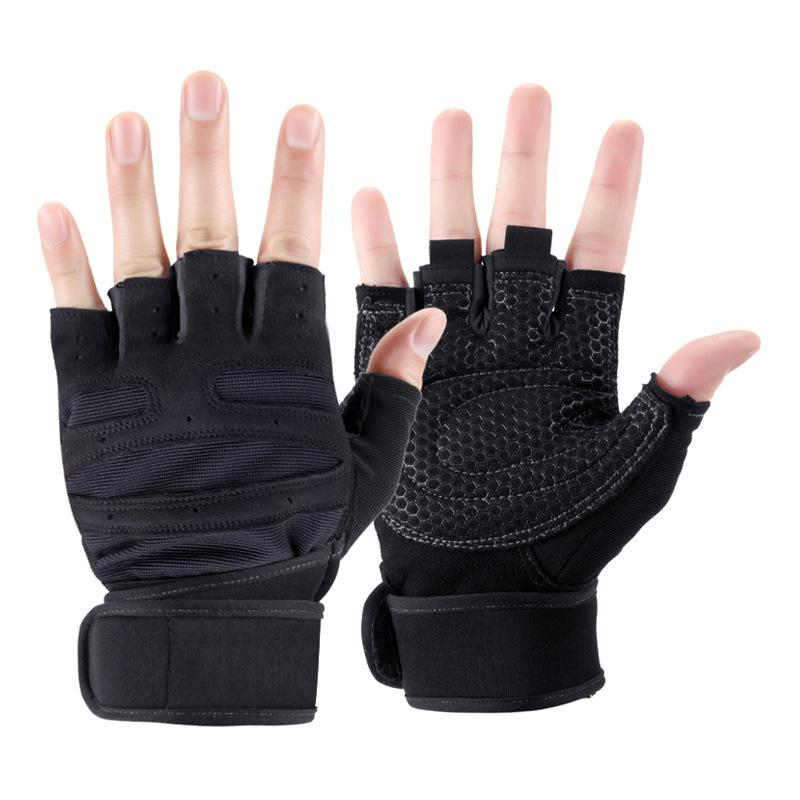 Cycling Gloves Half Finger Fitness Weight Lifting Gloves Anti-skid Training Exercise Heavyweight Sports Bodybuilding Gym Gloves