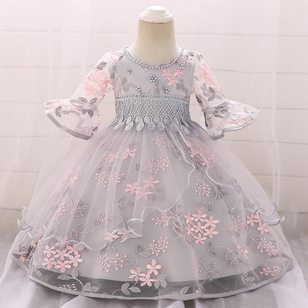 2020 Enfant Bébés filles dentelle fleurs Robes Robes de baptême du nouveau-né bébés Vêtements baptême princesse anniversaire robe de mariée