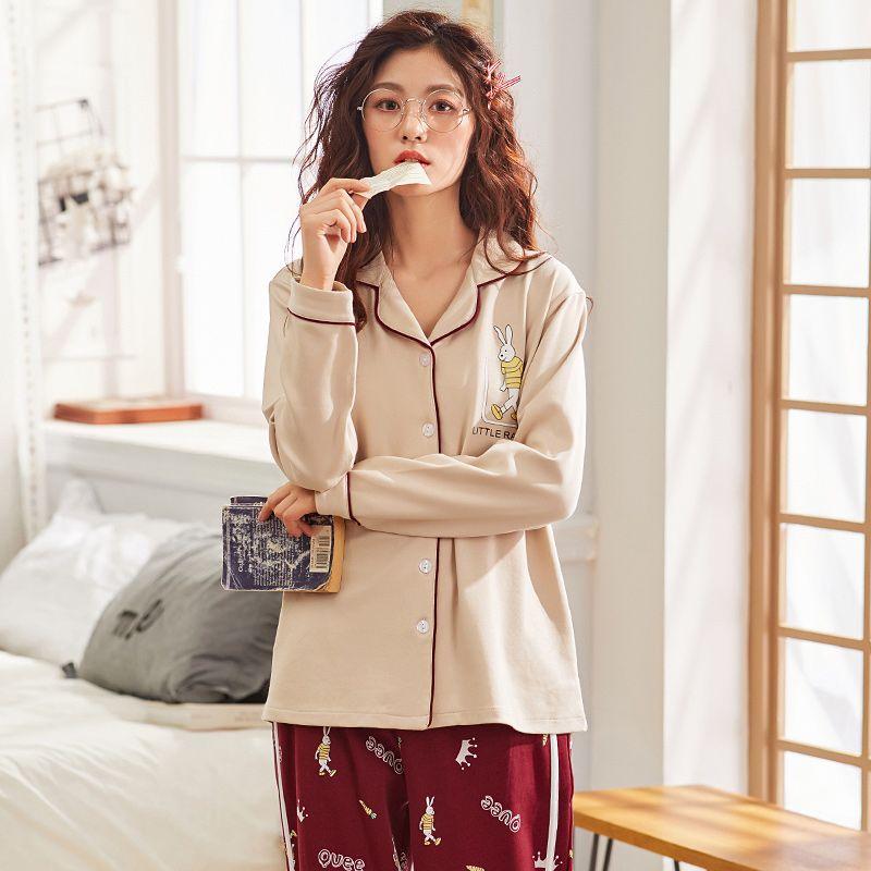 1d72d6440a 2019 J Q New Pijama Cotton Women Home Wear Leisure Lingerie Home Wear  Trendy Sleepwear Women Night Suit Cardigan Autumn Pajamas Set From  Baiyulanflo