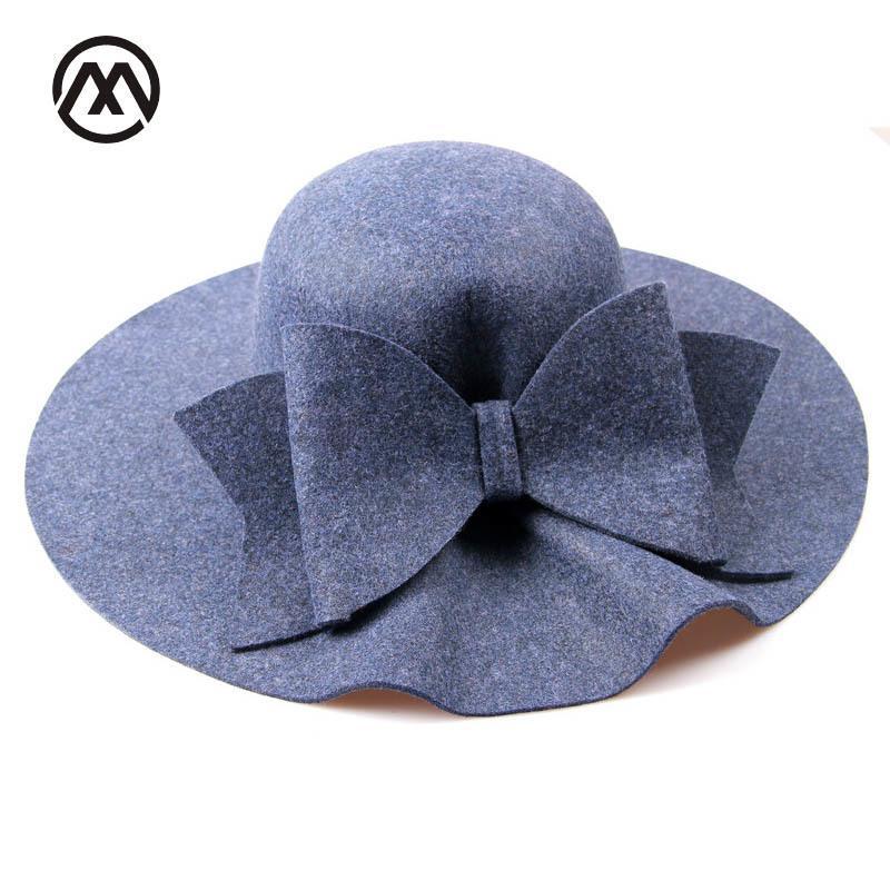 Compre 2018 Bow Tie Fedoras Sombreros De Fieltro Mujeres Otoño Invierno  Gorra Para Mujeres Europa Clásica Chica Vintage Sombrero Ola Ala Sombreros  De La ... eaefd8f9ac7