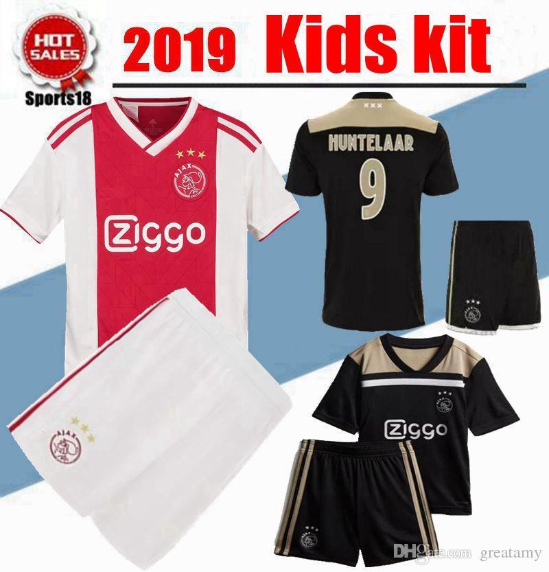 a196d1e4f 2019 Kids Kit Ajax Home Red White Soccer Jerseys Boy Youth Ajax Away Soccer  Shirt  10 TADIC  21 DE JONG  25 DOLBERG  22 ZIYEC Football Shorts From  Greatamy