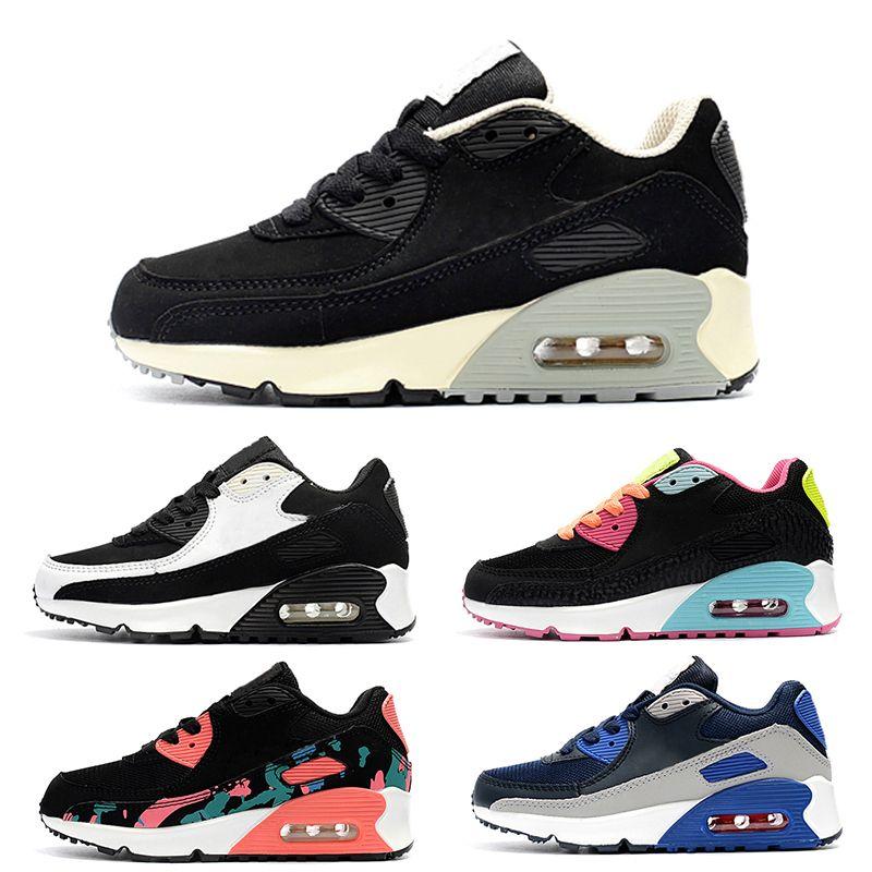 d4eb29cd9ab772 Großhandel Nike Air Max 90 Baby Kinder Laufschuhe Air Tavas Laufschuhe 87  90 95 Kinder Sportschuhe Jungen Mädchen Beluga 2.0 Sneakers Schwarz Rot  Größe 28 ...