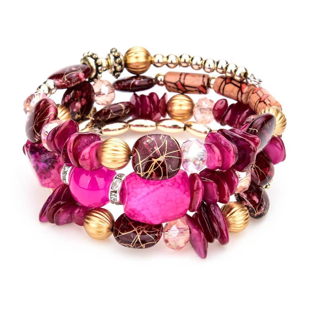 LUBINGSHINE Femme Boho Multicouche Perles Charme Bracelets pour Femmes Vintage Résine Pierre Bracelets Bracelets Bijoux Ethniques Cadeau