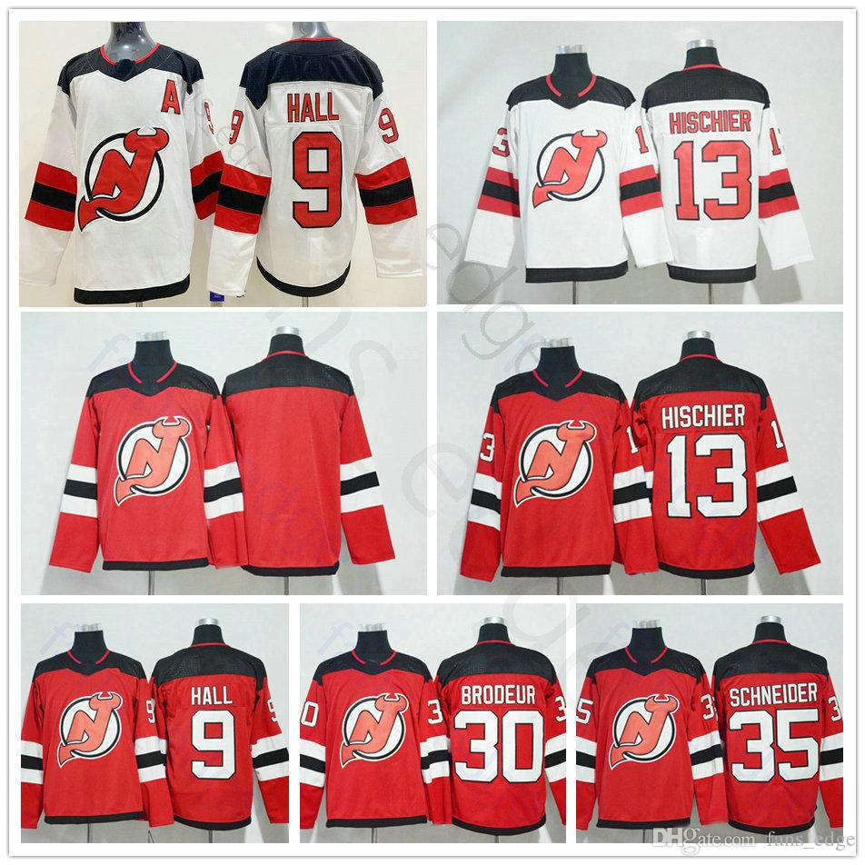 b6279815e 2019 New Jersey Devils Hockey Jerseys 9 Taylor Hall 13 Nico Hischier 30  Martin Brodeur 35 Cory Schneider Red White Man Women Kids Jersey From  Fans edge
