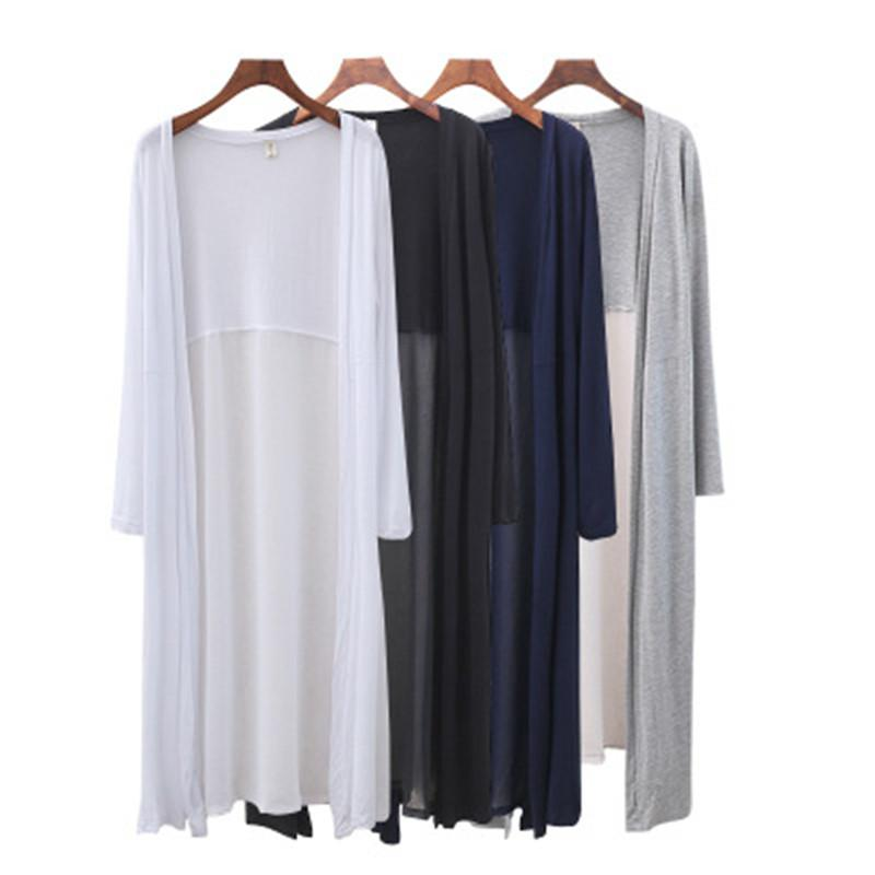 Cotton Women Summer Long Cardigan Long Sleeve Blouse Shirt Woman Sweater Casual Beach Poncho Clothing Blusas Plus Size Tops