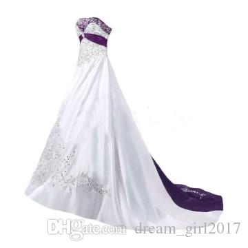 Elegant Wedding Dresses 2018 A Line Strapless Beaded Embroidery White Purple Bridal Gown Custom Made Elegant Wedding Party Dresses