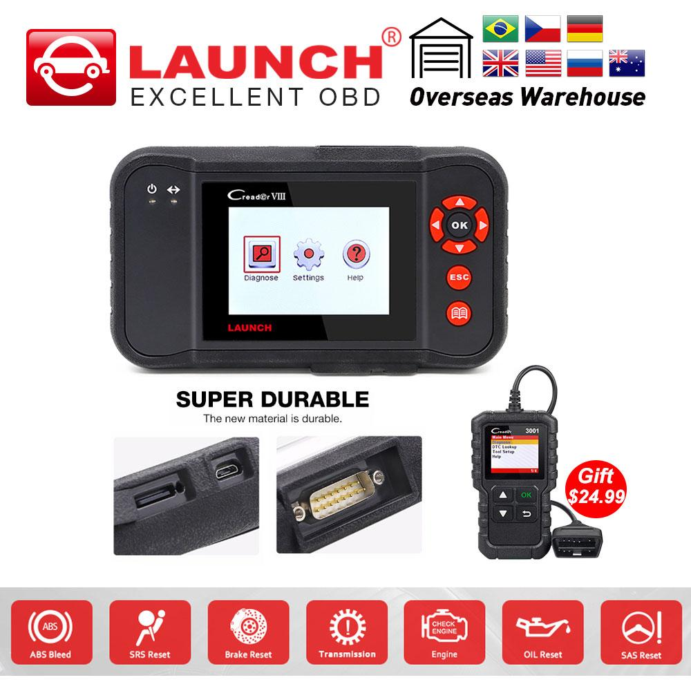 Launch X431 Creader VIII OBD 2 scanner ENG/AT/ABS/SRS Code Reader  Brake/Oil/SAS reset as CRP129 free update auto diagnostic tool