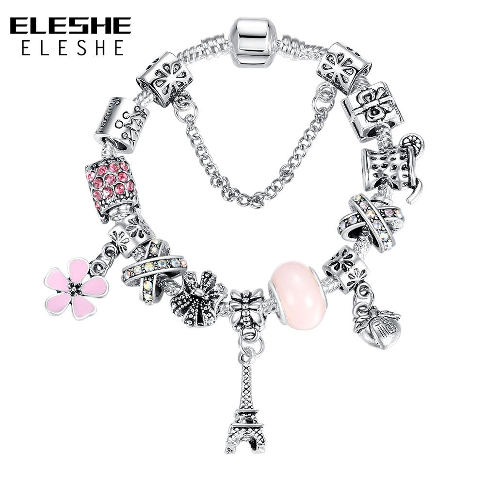 ELESHE 2018 New Fashion Tibetan Silver Tower Charm Bracelet for Women Murano Glass Beads Bracelets & Bangles Christmas Jewelry