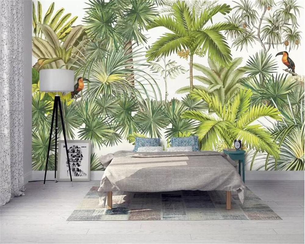 Beibehang Custom wallpaper mural Modern European hand-painted coconut tree plantain tree bird mural background wall wallpaper
