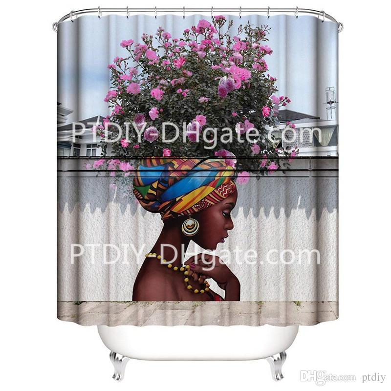 Beautiful Flower Girl Art Shower Curtain for Shower Stall by Woman Ethnic Themed Bathroom Decor Anti Mold Water Resistant Healthy Fabric