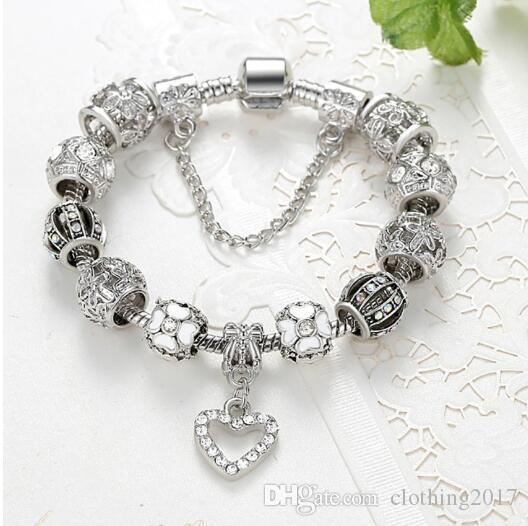 European And American Silver Bracelet Ladies Snowflake Love Diy