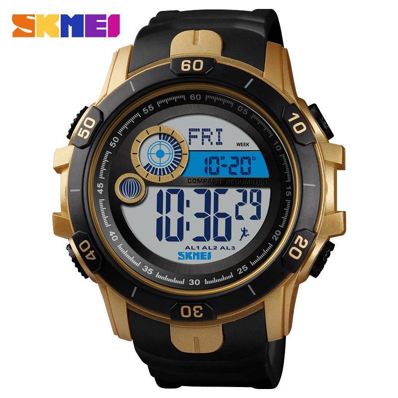 85dbfe815801 Compre Skmei 1480 Podómetro Deportivo Reloj De Los Hombres Cronómetro  Relojes De Pulsera De Pulsera De La PU Reloj De Alarma Relojes Digitales  Erkek Kol ...