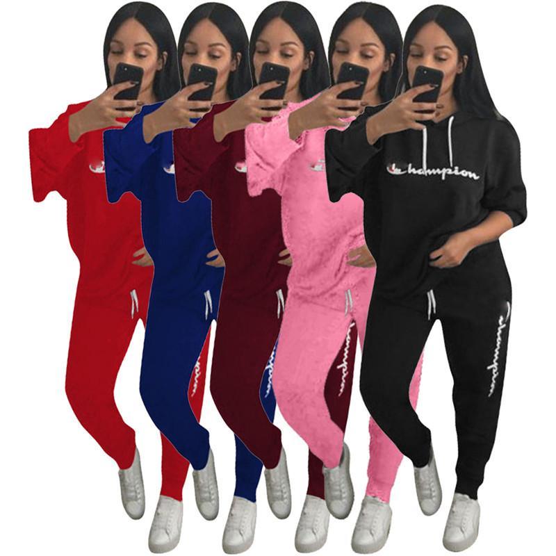 5642a6e68b Women Champions Letter Print Tracksuit Long Sleeve T Shirt Top Pants  Leggings 2PCS Set Hooded hoodie Outfit Sportswear Clothes Suit 2019