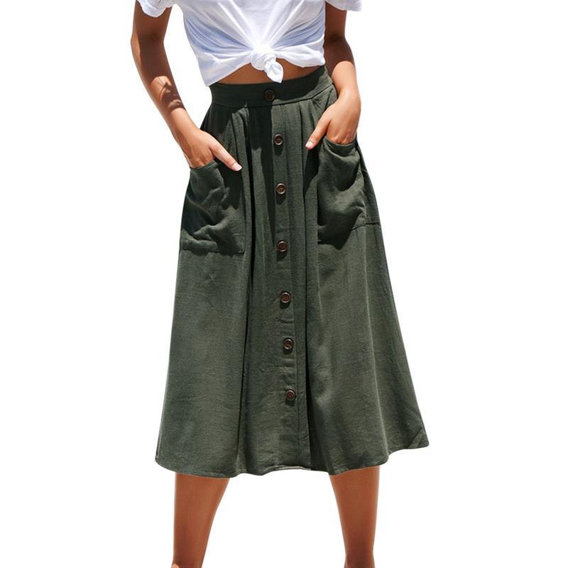 e495d5031fe70 2019 femmes pure couleur jupes taille haute simple boutonnage boutons jupe  midi poche vente chaude printemps été mode casual