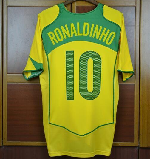 2019 World Cup 2004 Brazil Home Away Blue Jerseys KAKA RONALDO Rivaldo Brasil  Retro Shirts Carlos Romario Ronaldo Ronaldinho 04 Football Jersey From ... d90be4423