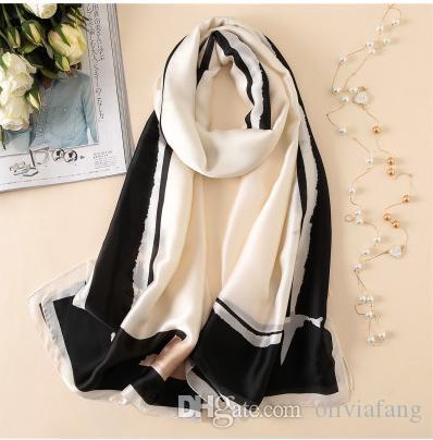 buy popular 4c89c 1966e 2019 Neue Schals Weibliche Schöne Schicke Lange Schals und Tücher Wraps  Hijabs Satin Schals Marke Designer Schals Imitation Silk ScarF Lady