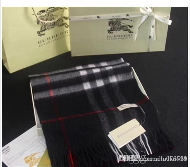 High-end autumn and winter men's and women's wear wool scarf shawl a variety of color lattice tassel casual accessories