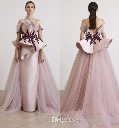 e4c11c123a2 Abendkleider Plus Size Elegant Evening Formal Dresses Party Wear 2019 Engagement  Prom Dresses With Tulle Detachable Train Vestido De Novia Night Dresses For  ...