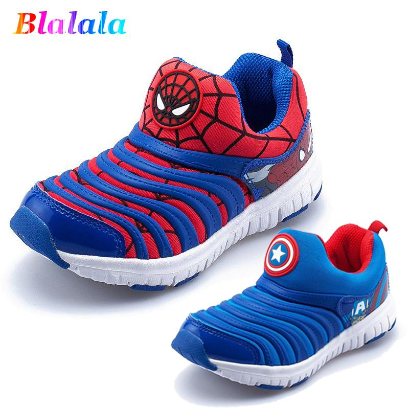 Primavera autunno Cartoon Spider Man Capitan Baby Boys Sneakers per bambini Scarpe da skateboard Moda per bambini Caterpillar Shoes 13-22cm Y190525