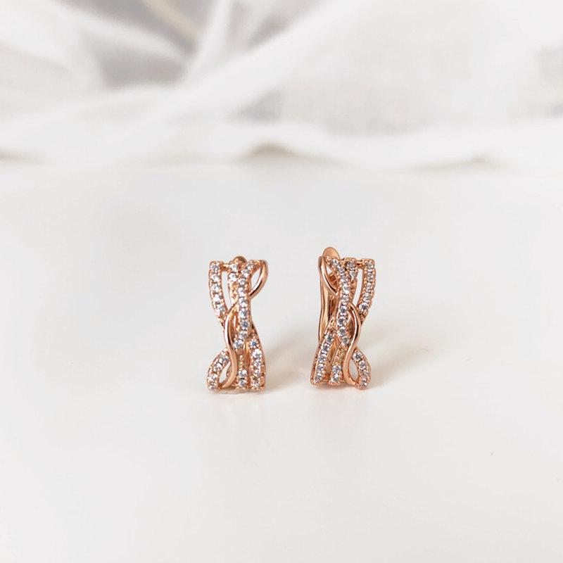 Irregular earrings color 585 rose gold zircon inlaid jewelry holiday gift wedding jewelry anniversary fashion shiny classic