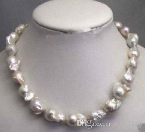 8fed5724f526 Collar De Disco De Perla Barroca Blanca Inusual De 23 Mm 18 A  74.37 Del  Dong1240