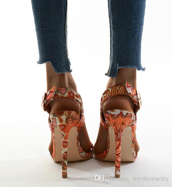 Phoenix Portakal Çiçeği Baskılı Yüksek Topuklar Sandalet Kadınlar Tasarımcı Ayakkabı Kutusu ile gel Boyutu 35 To 42 Lüks