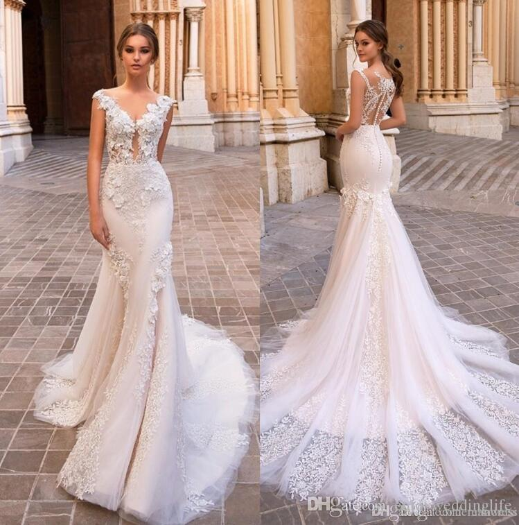 1a1b6b497a3 2019 New Gorgeous Mermaid Lace Wedding Dresses Sheer V Neck Cap Sleeves Lace  Appliqued Plus Size Bridal Gowns Vestidos De Nnovia Princess Wedding Dresses  ...