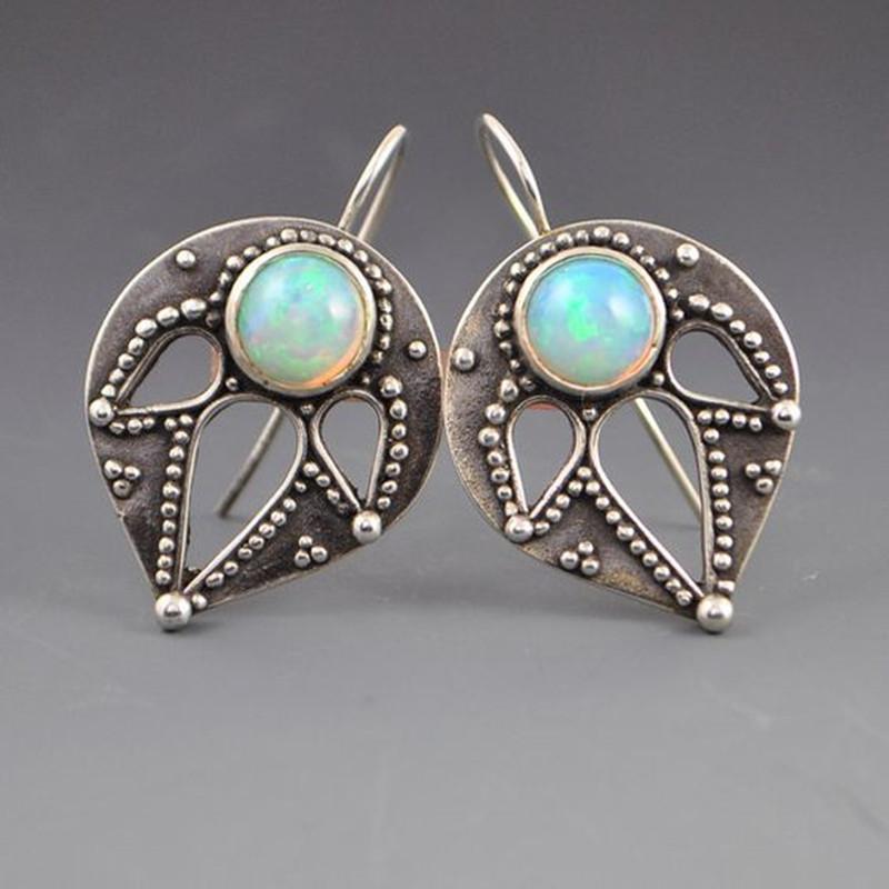 MDNEN Vintage Opal Saplama Küpe Moda Kadınlar Için Damızlık Küpe Yıldönümü Düğün Takı Damızlık Küpe