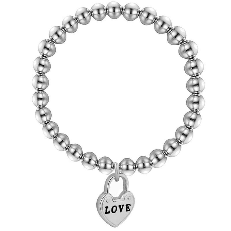Elastic Couple Love Alphabet Heart-shaped Bracelet Stainless Steel Bead Bracelet Gifts for Women Chain & Link Bracelets Trendy
