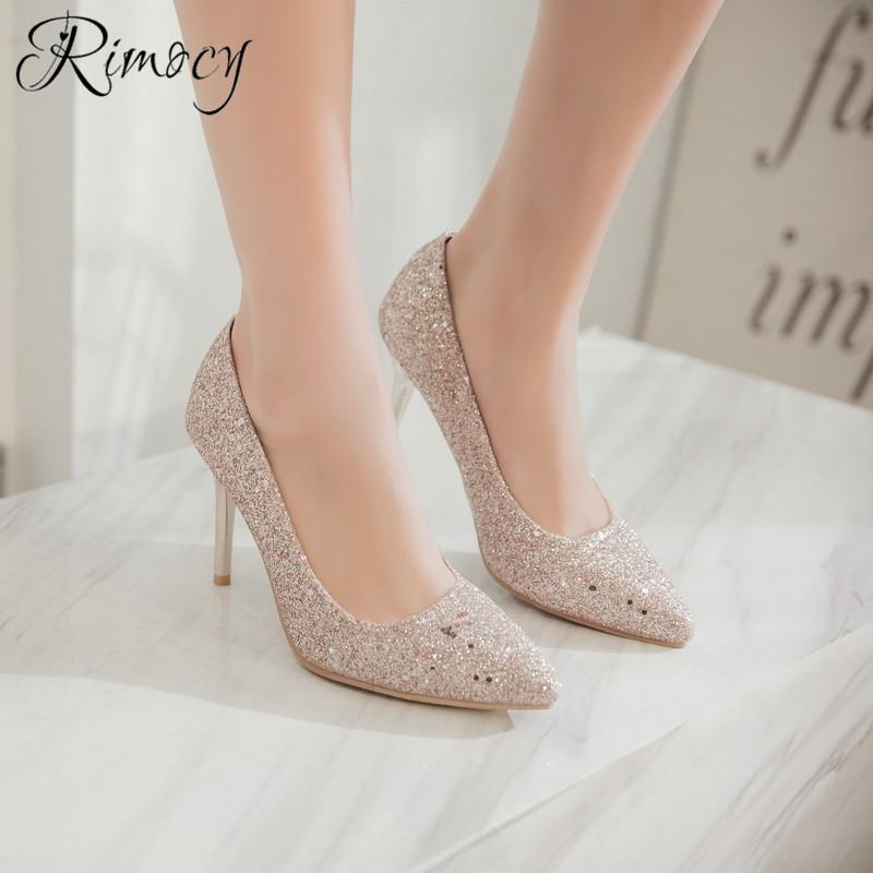 Dress Rimocy Ladies Pumps Mujer Fashion Bling Shoes Woman Sandals Stiletto  High Heel Wedding Shoes Sequined Cloth Slip On Heels Women Mens Loafers  Formal ... f7018377d3ca