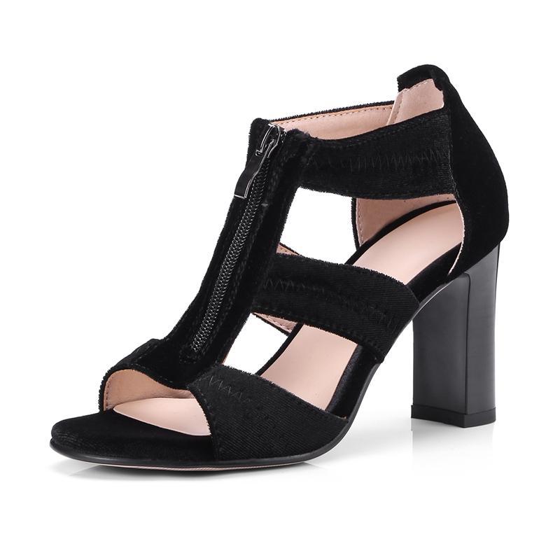 edc6a95e0a221c Acheter ENMAYER Femmes Mode Troupeau Base Occasionnels Talons Hauts  Sandales Femmes Zip Femmes Sandales Été 2019 Grande Taille 34 43 LY810 De  $58.8 Du ...
