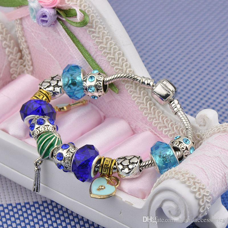 Navy Glass Beads Bangles Crystal Beaded Fit Pandora Charm Bracelets Gold Heart Key Pendant Women Luxury Silver Palted Bracelets Jewelry P77