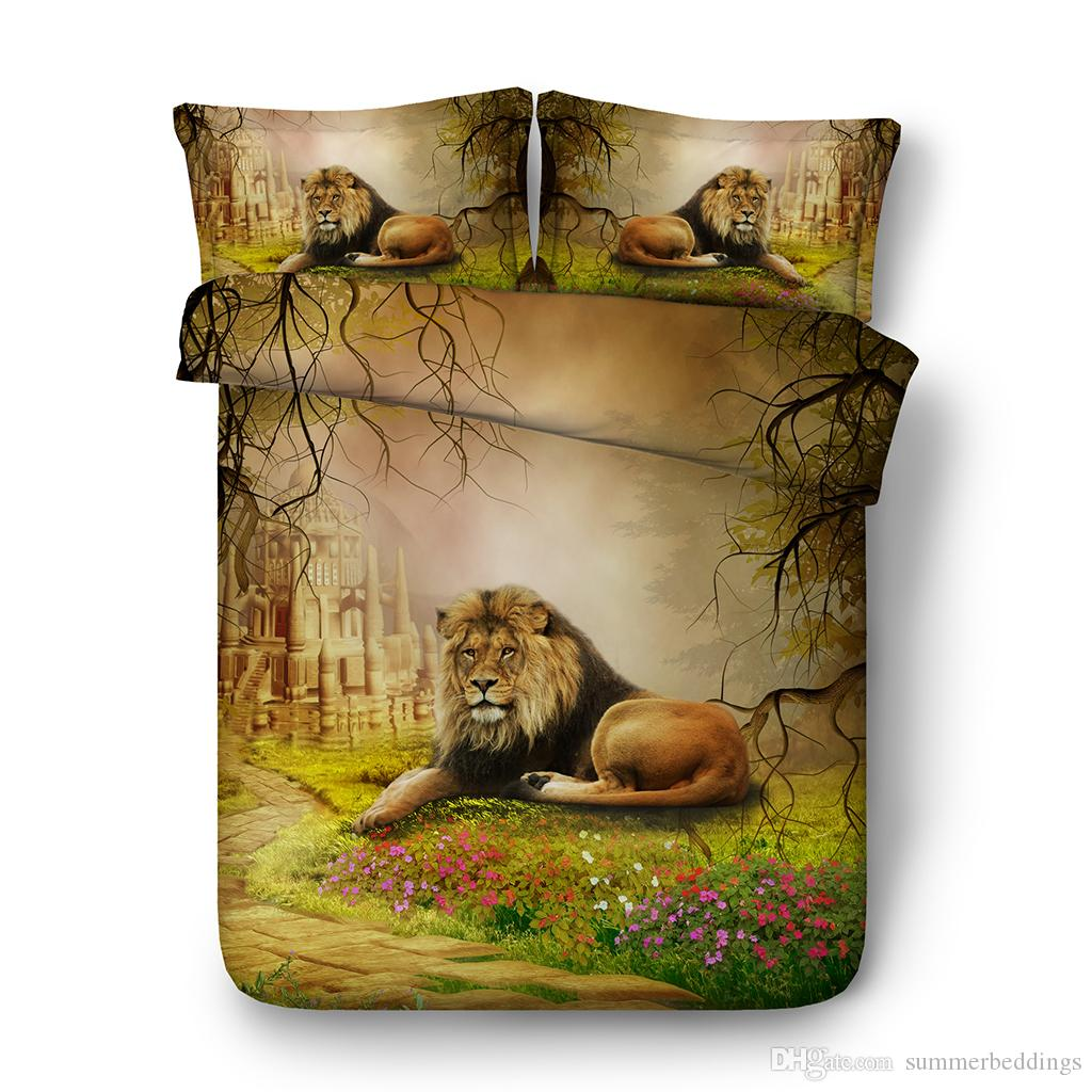 3D floral Bedding Sets Brown Lion Boys Girls 3 Pieces forest Duvet Cover Set Comforter Quilt Bedding Cover Castle duvet