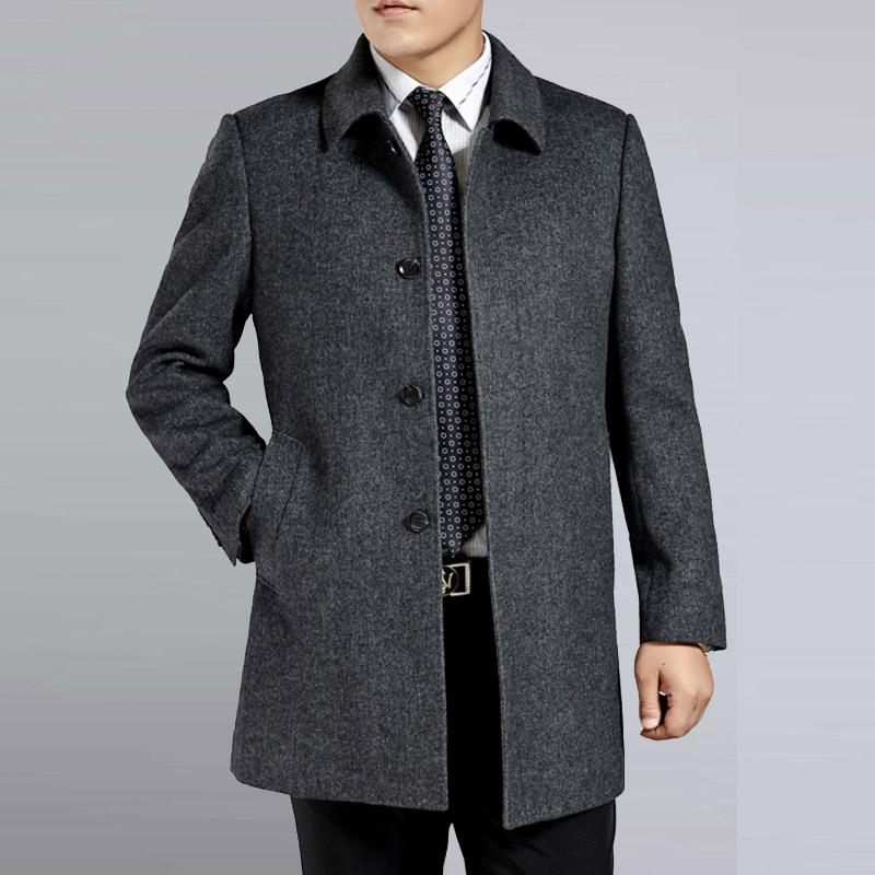 Middle age men's cashmere coat men wool trench male turn down collar single breasted woolen outerwear 2018 new autumn winter