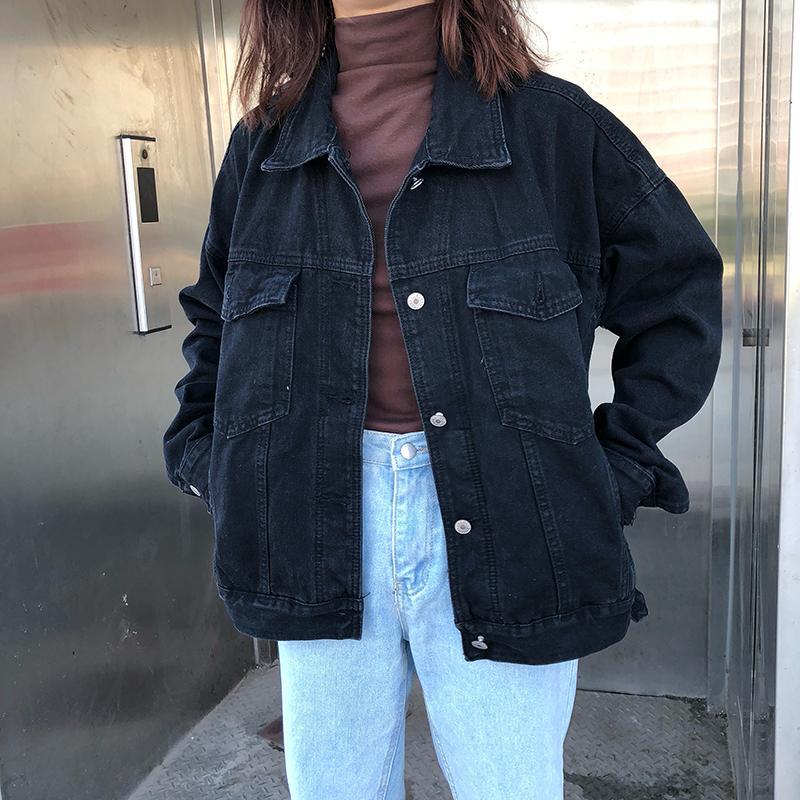 Black Denim Jacket For Girls Loose Boy Friend Design Fleece Jacket