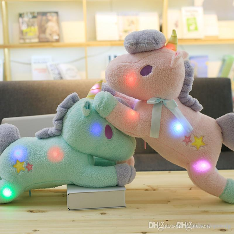 55CM 22inch Led Shinning Horse giocattoli di peluche Papillon Unicorn Baby kids Soft Doll Regali di compleanno Animali di peluche Shinning Party Natale Halloween
