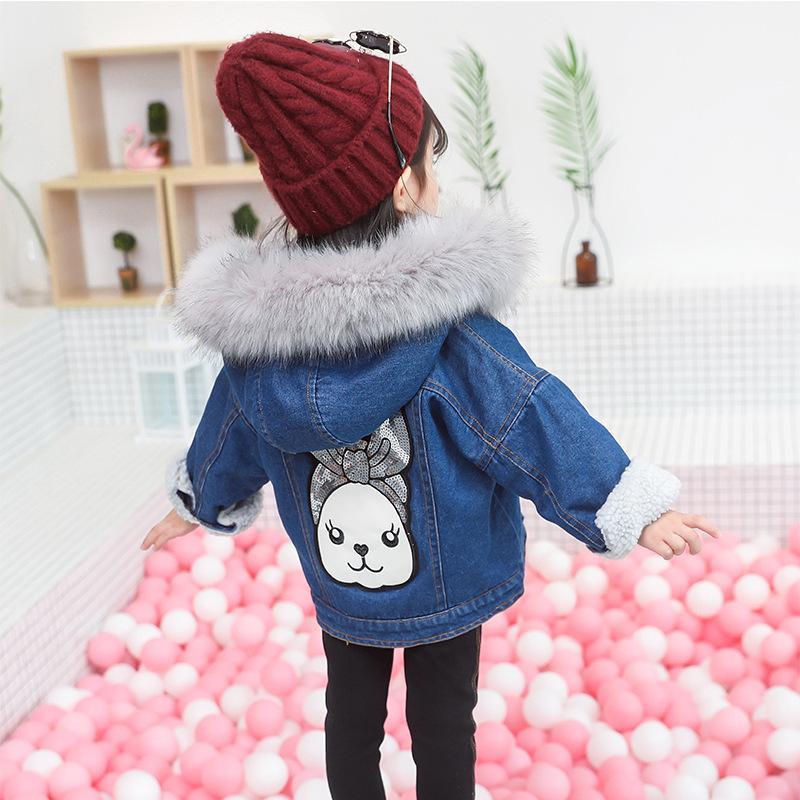 1196c67d11d good quality Baby Girl Denim Jacket Coat Thick Autumn Winter Lamb Wool  Hooded Cartoon Cute Warm Windbreak Kid Clothes 2-6 Years