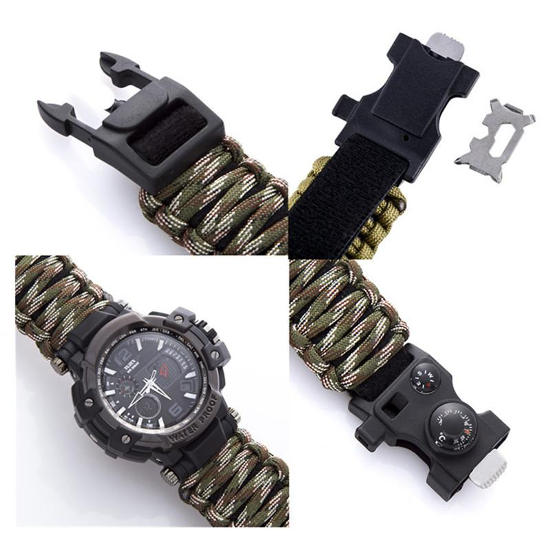 New Outdoor Survival Watch Bracelet Multi-functional Waterproof 50M Watch For Men Women Camping Hiking Military Tactical Camping Tools (1)_