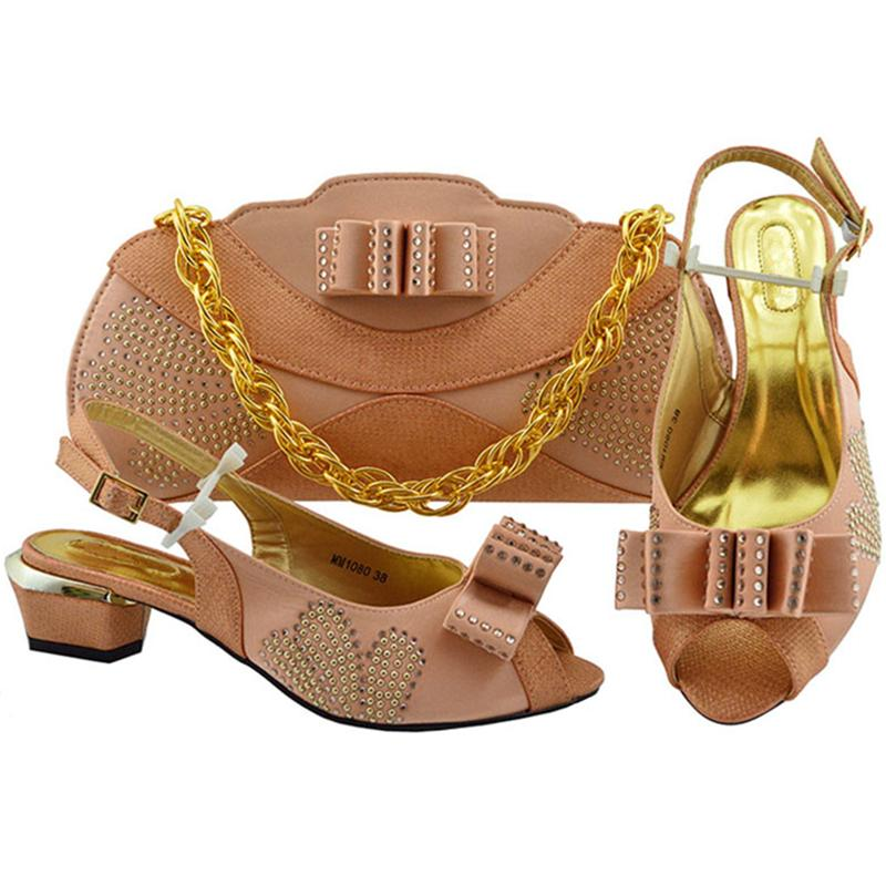 Italian Shoes with Matching Bag Set Matching Shoe and Bag Set Decorated with Appliques Block Heel Shoes Wedding Pumps with Purse