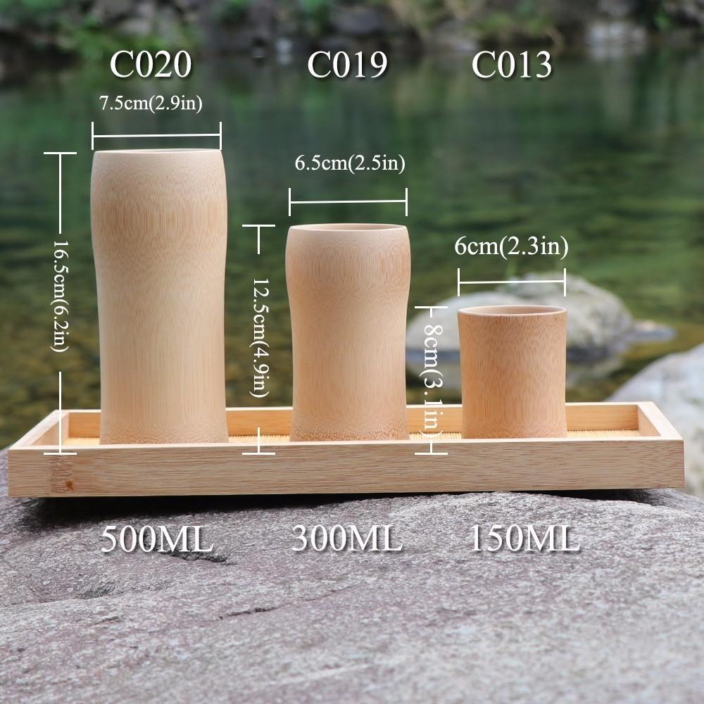 New 6pcs natural bamboo Tea cups beer Tumbler of coffee wine milk kitchen vintage tea service Chinese Wood cup insulated small Gift