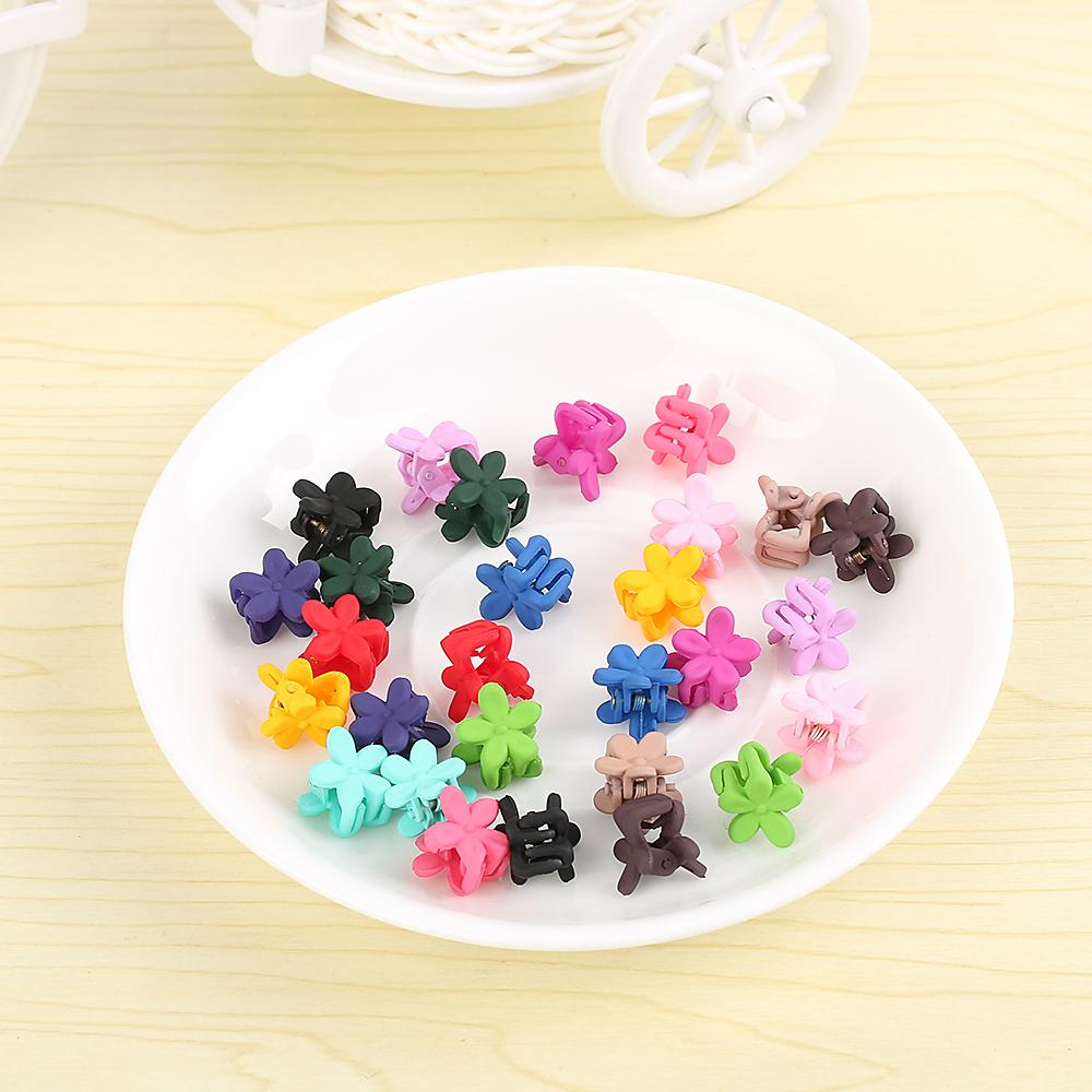 20PC Random Color!!Cute Children Girls Hairpins Small Flowers Gripper 4 Claws Plastic Clip Clamp Barrettes Hair Accessories C19010501