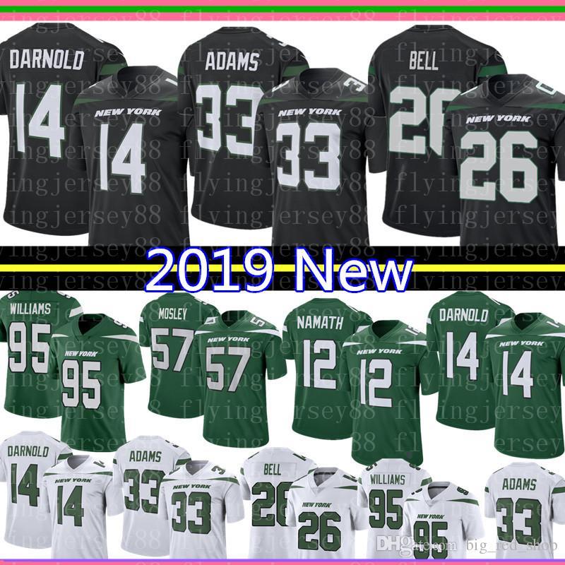 buy online 8825d 0a8d2 14 Sam Darnold 26 Le Veon Bell Jets Jersey 33 Jamal Adams 57 C.J. Mosley 12  Joe Namath Football 2019 New York Jet 95 Quinnen Williams