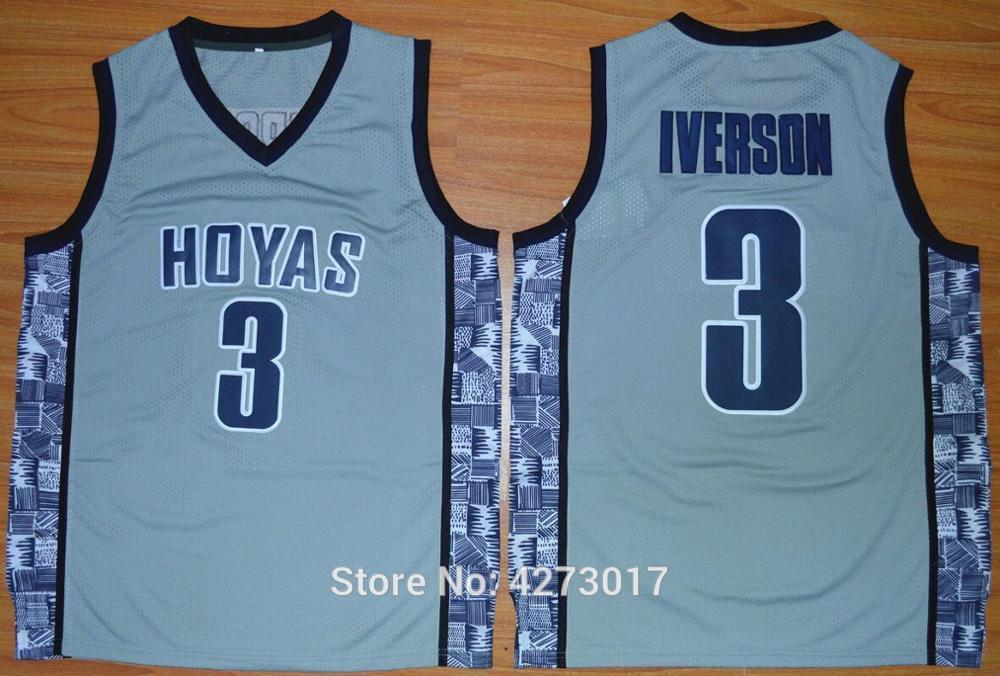 f82b5ec2143 2019 Mens College 3 Allen Iverson Jersey Men Sale Sports Georgetown Hoyas  Basketball Jerseys Uniforms Stitched Blue Black Gray NCAA From Hytopjersey,  ...